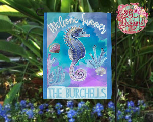 Welcome Summer hand painted Watercolor Sea Horse personalized Digital Design File, PNG