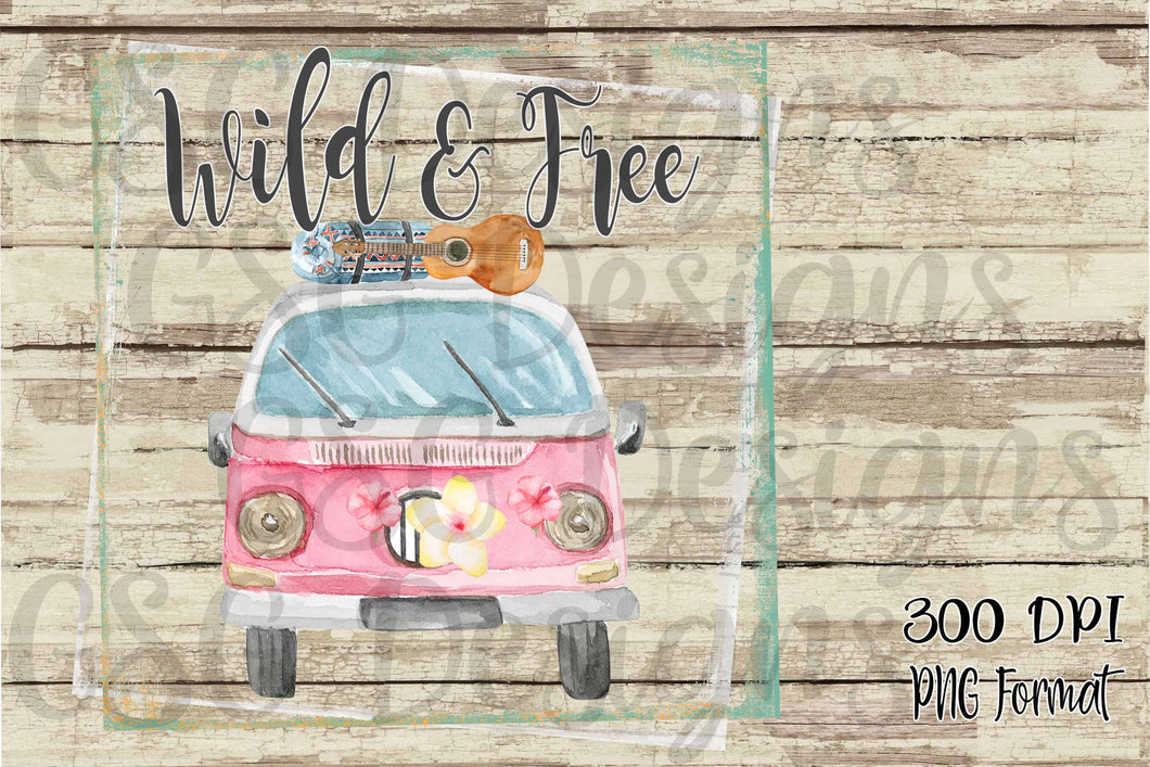 Wild & Free Wanderlust Bus Sublimation Digital Design File PNG