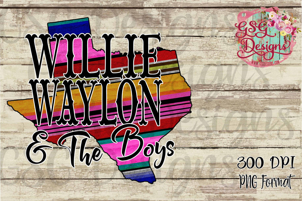 Willie Waylon and the Boys Texas Sublimation Transfers
