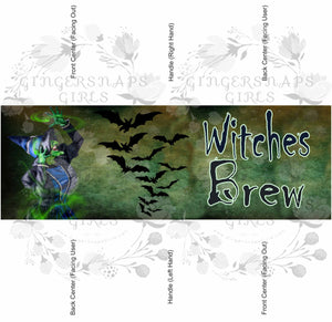Witches Brew and Bats Halloween Coffee Mug Template Sublimation Transfers