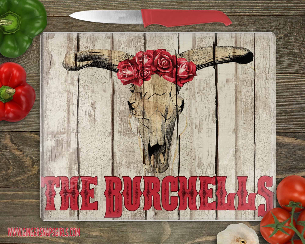 Custom Distressed Wood Bull Skull with Roses Sublimation Transfers