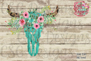 Wooden Bull Skull with Flowers Sublimation Transfers