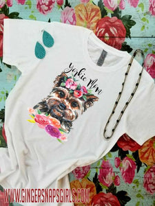 Yorkie Mom, Yorkshire Terrier Watercolor Floral Sublimation Transfers