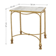 Luxurious end table made of a metal base and a marble top, inspired by twisted rope and curtain tassels