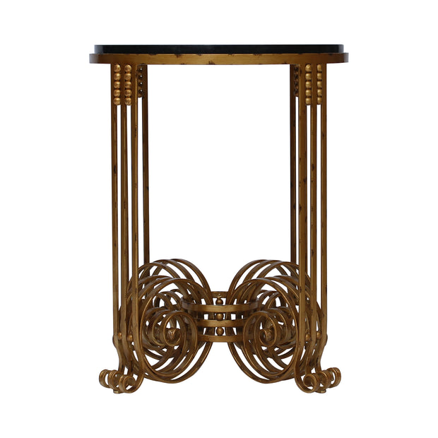 A frontal view of a luxurious wrought iron side table inspired by the Art Deco style