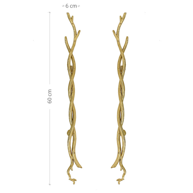 A pair of luxurious golden pull handles inspired by antlers