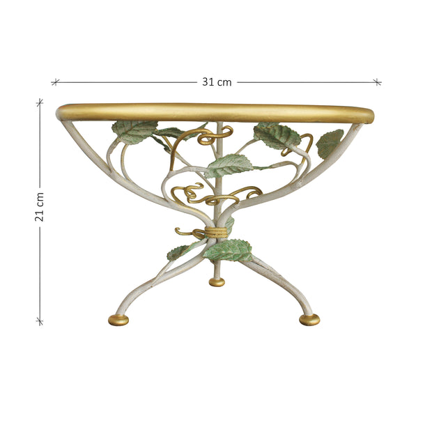 Frontal view of accent cake stand inspired by nature with annotated dimensions