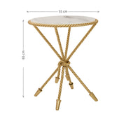 A unique rope-themed round accent table painted in gold and topped with white natural marble