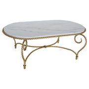 Oval-shaped living room table in golden color and white natural marble top inspired by twisted rope