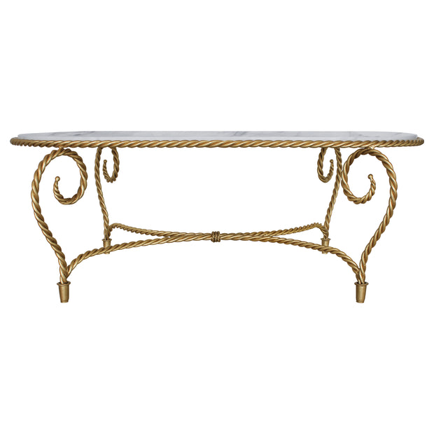 Frontal view of golden center table made from twisted metal topped with white natural marble