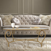 Luxury handmade oval shaped center table in golden color inspired by twisted rope