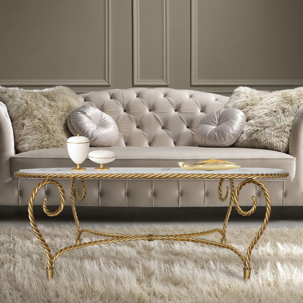 Luxury handmade Cordelia oval shaped center table in golden color