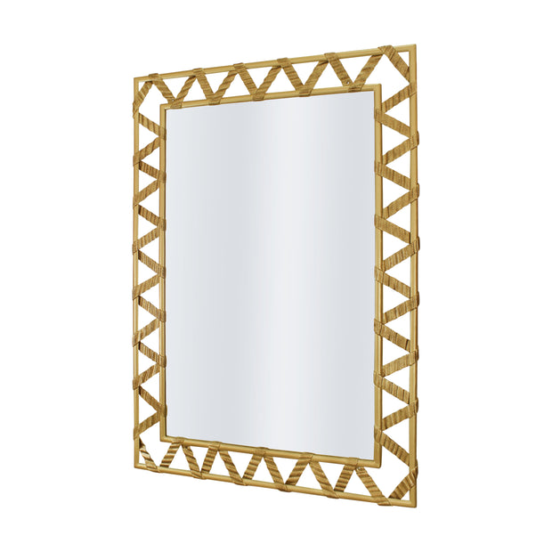 A rectangular golden mirror with a zigzag pattern along its perimeter