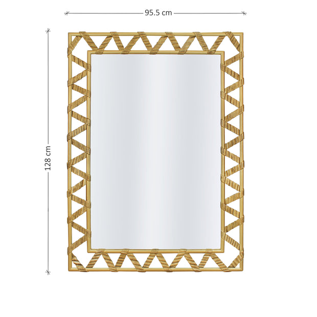 A rectangular golden mirror with a zigzag pattern along its border; with annotated dimensions