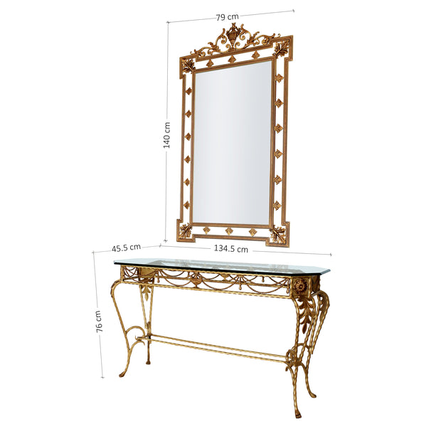 A classically styled handmade metal console and mirror painted in an antique gold finish; with annotated dimensions