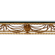Close up of a classical wrought iron console comprised of twisted rope painted in an antique golden finish, topped with clear glass