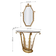 An Art Deco styled handmade metal console and mirror painted in an antique gold finish; with annotated dimensions