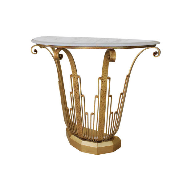 An Art Deco styled wrought iron console painted in an antique golden finish, topped with a semi-circular white marble with corniced edges