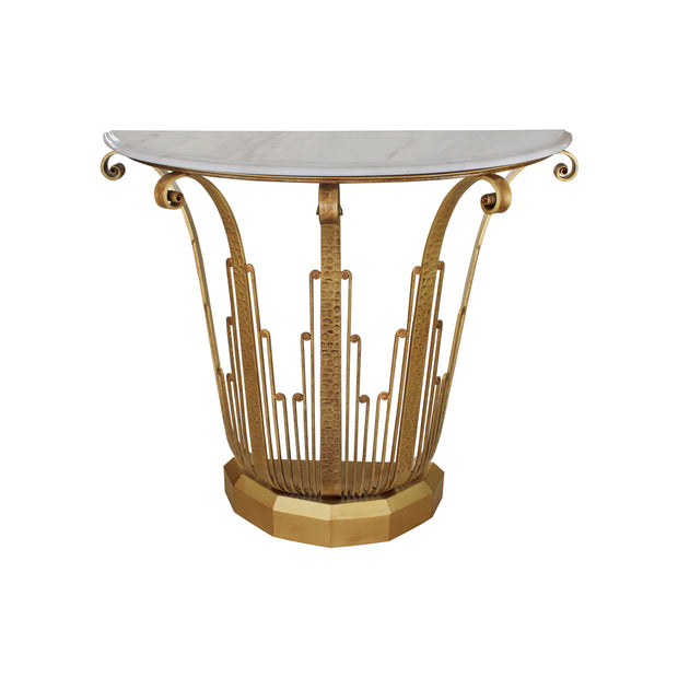 An Art Deco styled forged iron console table painted in an antique golden finish, topped with a semi-circular white marble with corniced edges