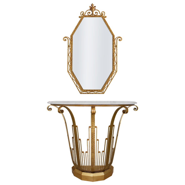 An Art Deco styled wrought iron console and mirror painted in an antique golden finish