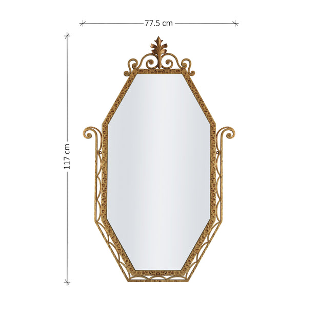 An Art Deco styled wrought iron mirror painted in an antique golden finish; with annotated dimensions