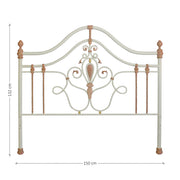 Handmade metal headboard for a girly single bed with scrolls, leaves and classical motifs; with annotated dimensions