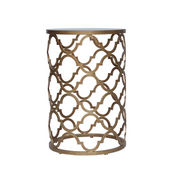 Contemporary bronze-gold color accent table with a quatrefoil pattern, topped in glass