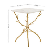 A novelty end table made of wrought iron with legs like twigs, topped with a square piece of marble