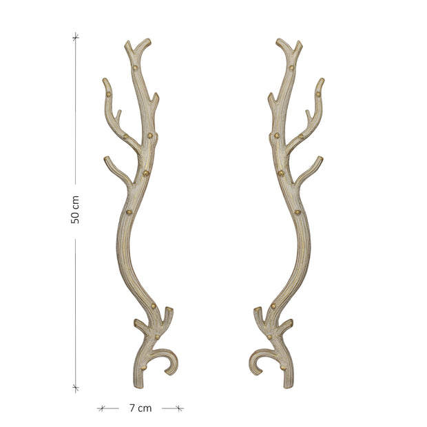 A pair of luxurious antique white pull handles inspired by antlers