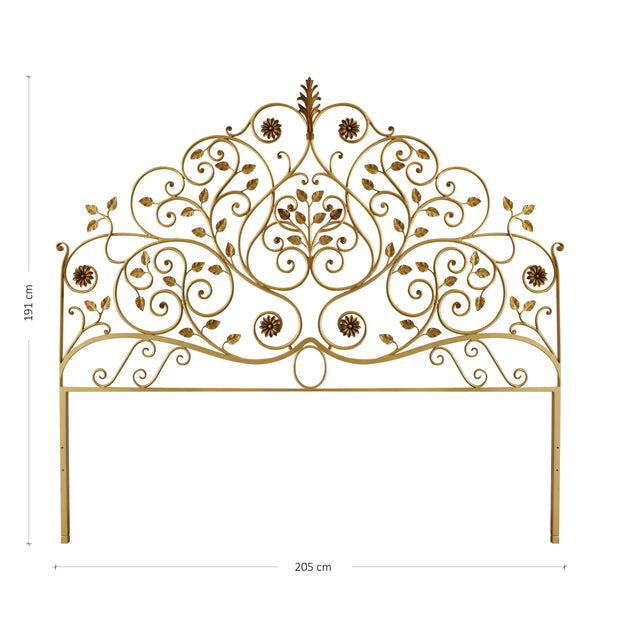King size bed headboard inspired by nature; with branches, leaves and flowers painted in an antique gold finish; with annotated dimensions