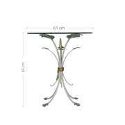 Frontal view of a unique accent table with annotated dimensions