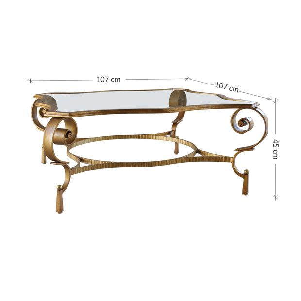 Dimensions for neo-classical design metal center table with glass top