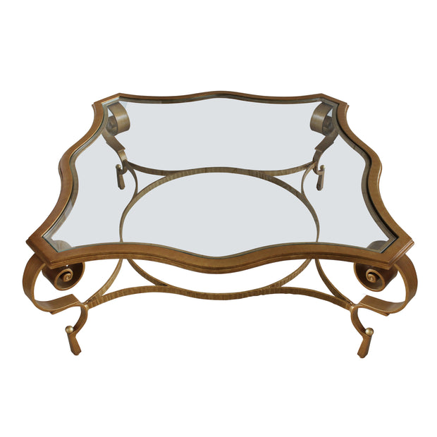 Top view of beautiful wrought iron center table with glass top