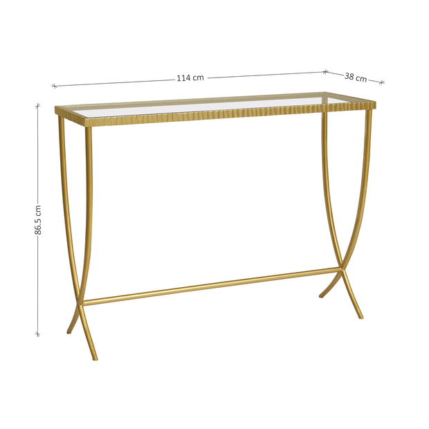 Simple steel console table with a textured upper frame and elegant steel legs, topped with clear glass