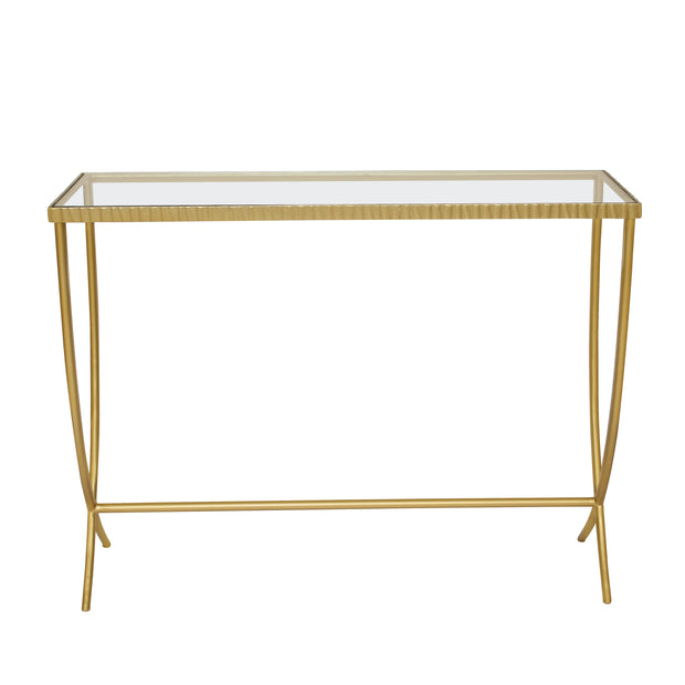 Elegant golden console table with embossed edges and curved legs topped with clear glass