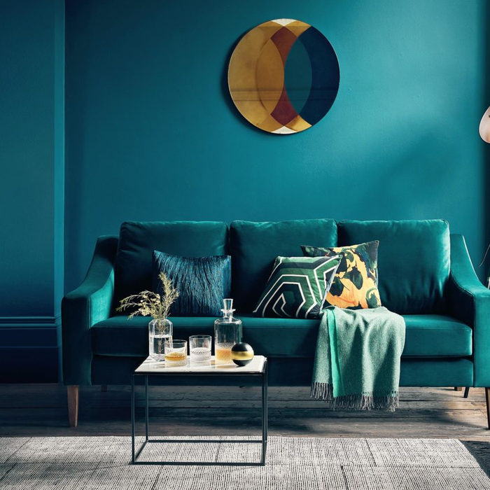 office interior turquoise couch