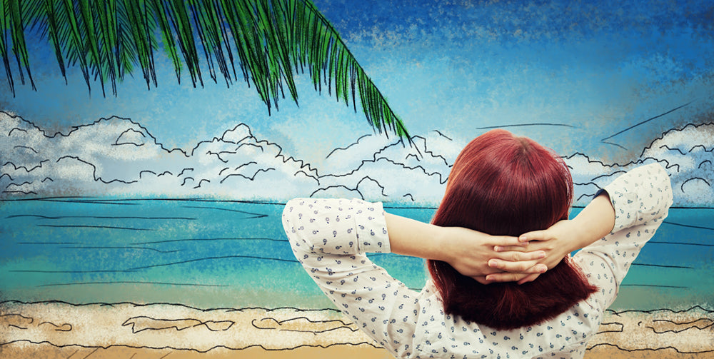 woman dreaming of a holiday