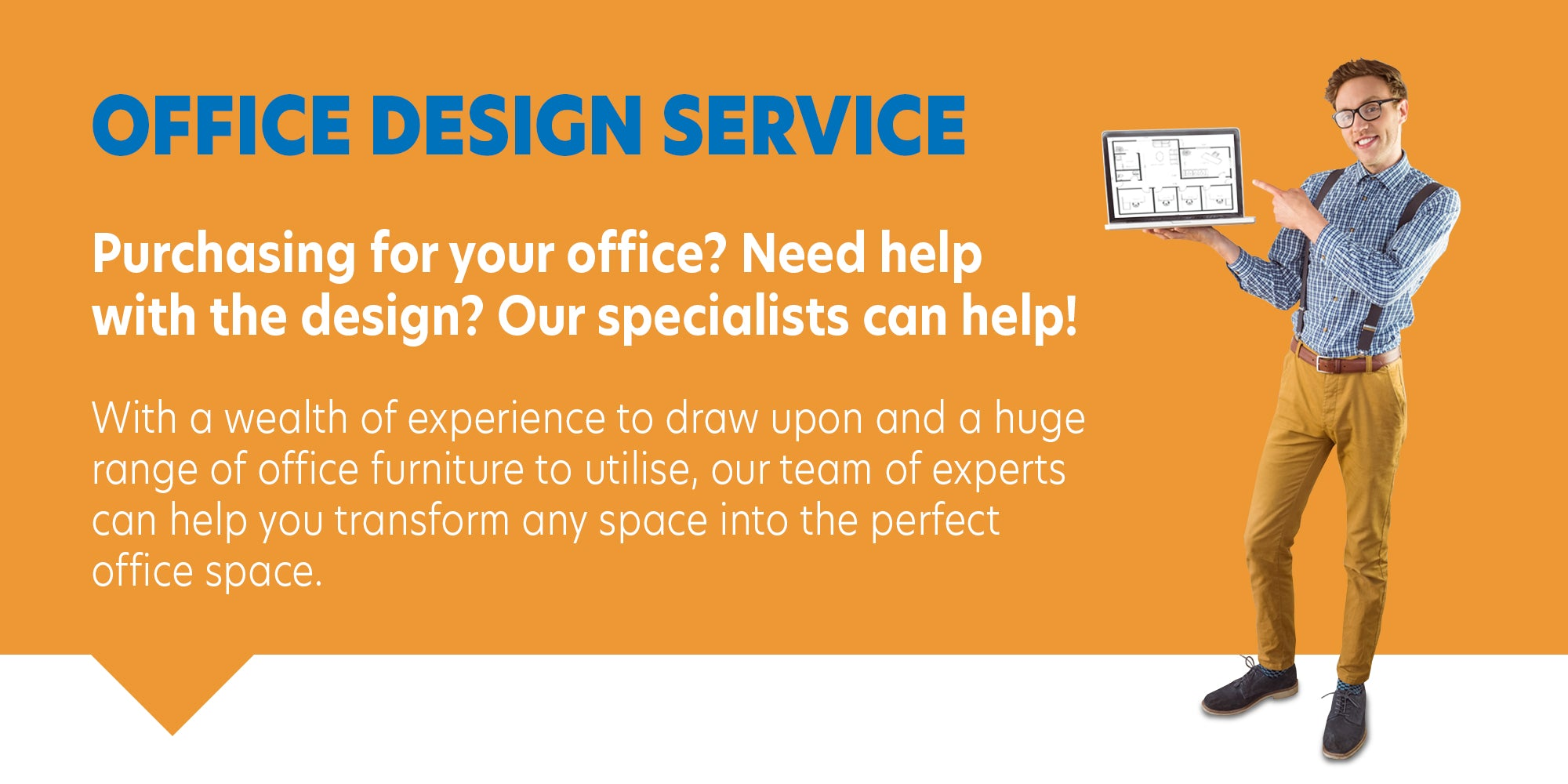 man offering office design service