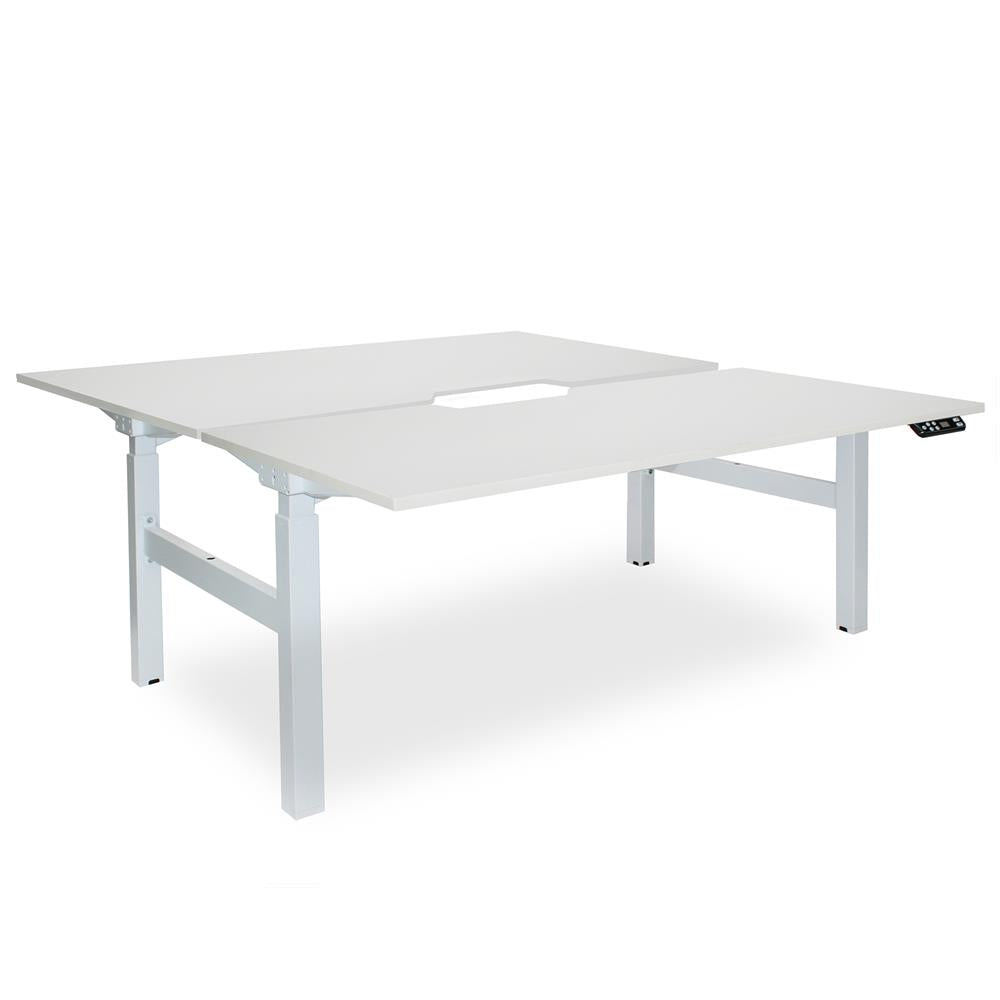 Mobel Elevate Electric Height Adjustable Shared Desk – White / White