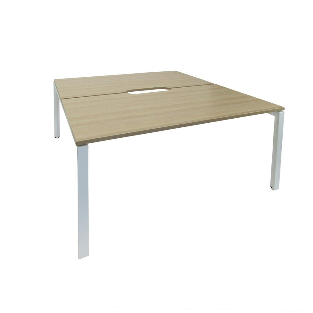 Mobel Novah 1800 Double-Sided Shared Desk – White / Oak