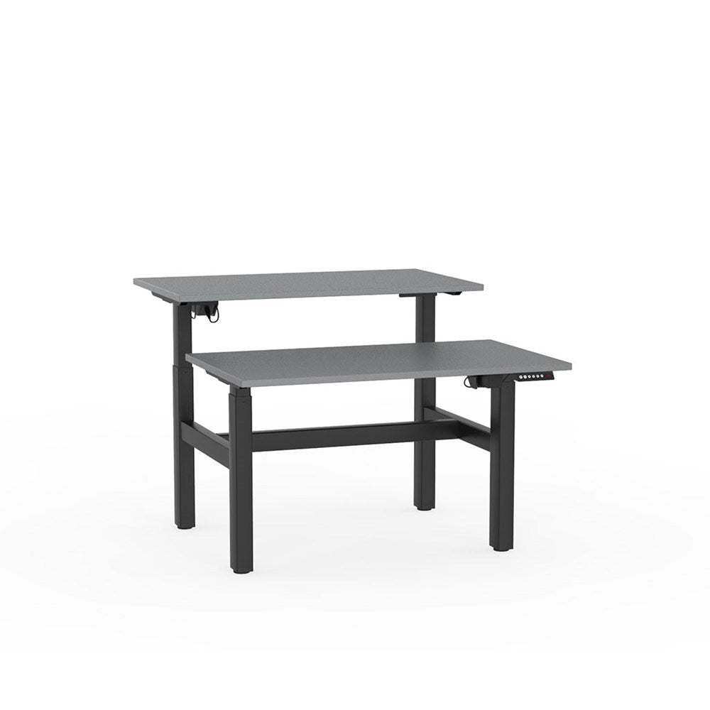 Agile Electric Height Adjustable Shared Desk - Black / Silver