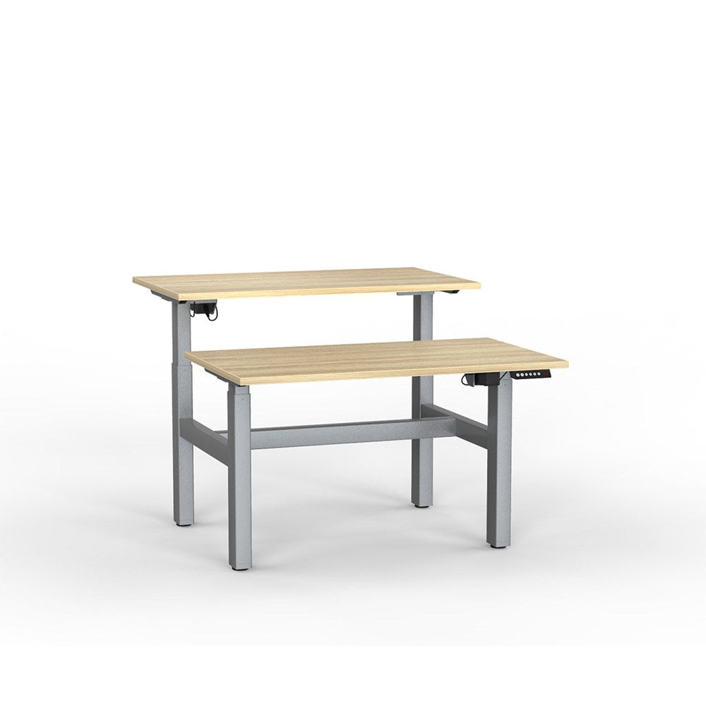 Agile Electric Height Adjustable Shared Desk - Silver / Atlantic Oak