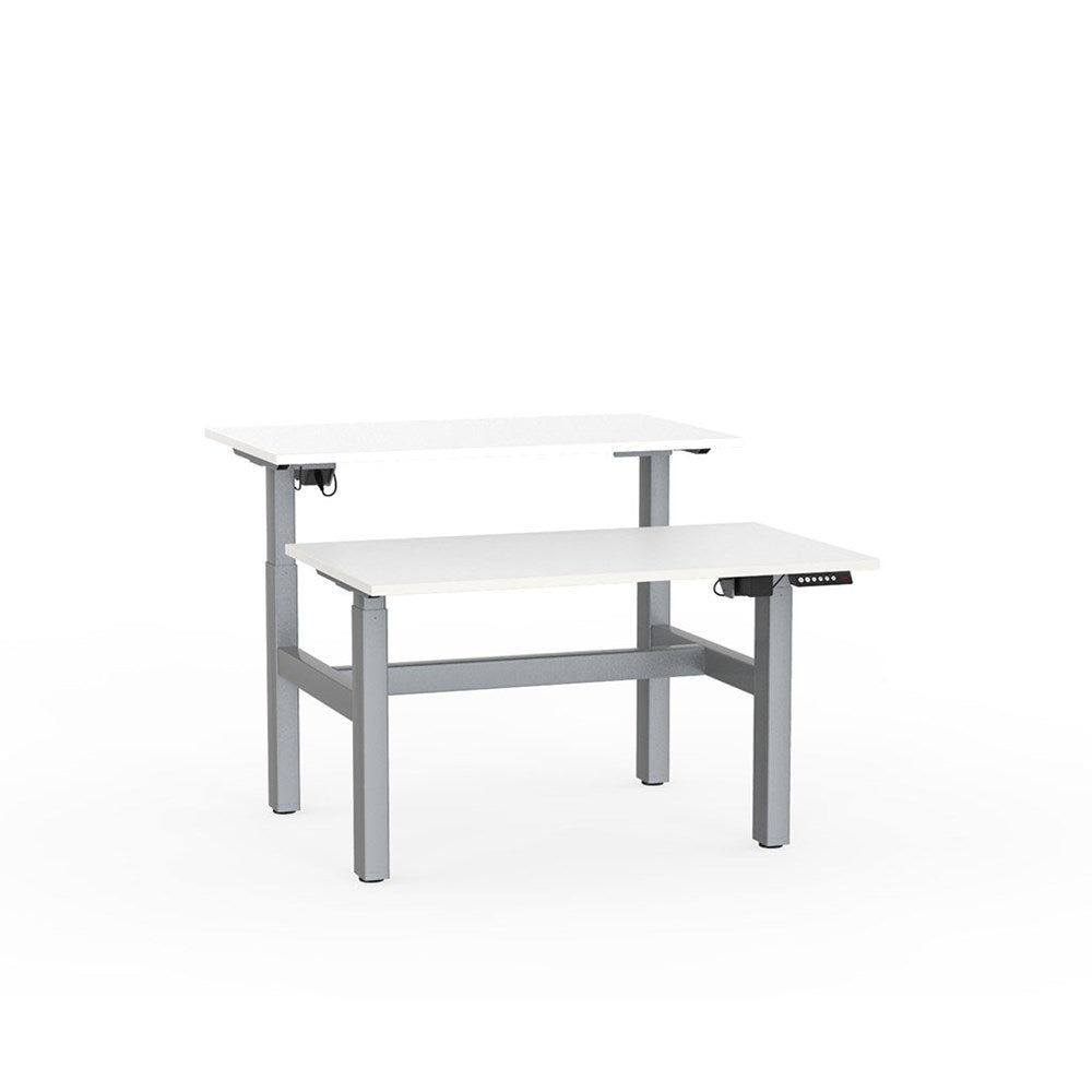 Agile Electric Height Adjustable Shared Desk - Silver / White