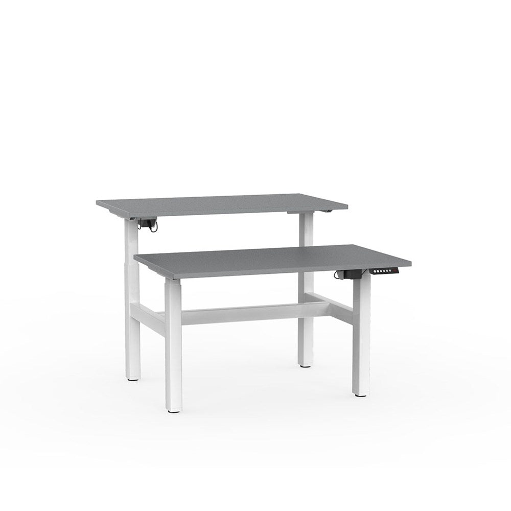 Agile Electric Height Adjustable Shared Desk - White / Silver