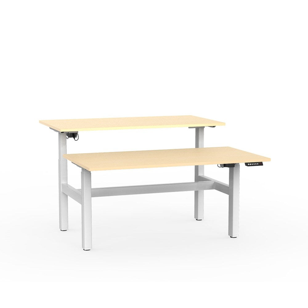 Agile Electric Height Adjustable Shared Desk - White / Nordic Maple