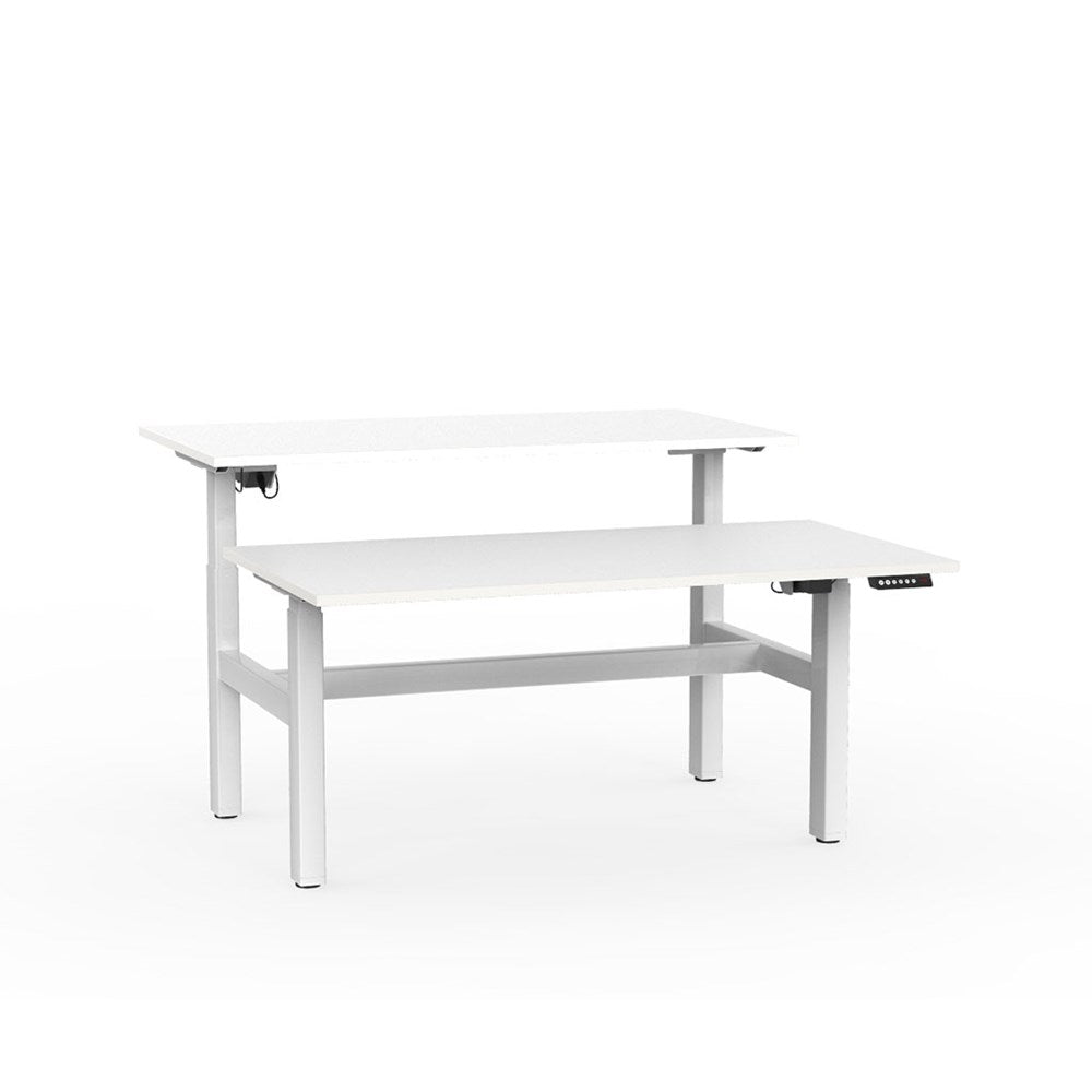 Agile Electric Height Adjustable Shared Desk - White / White