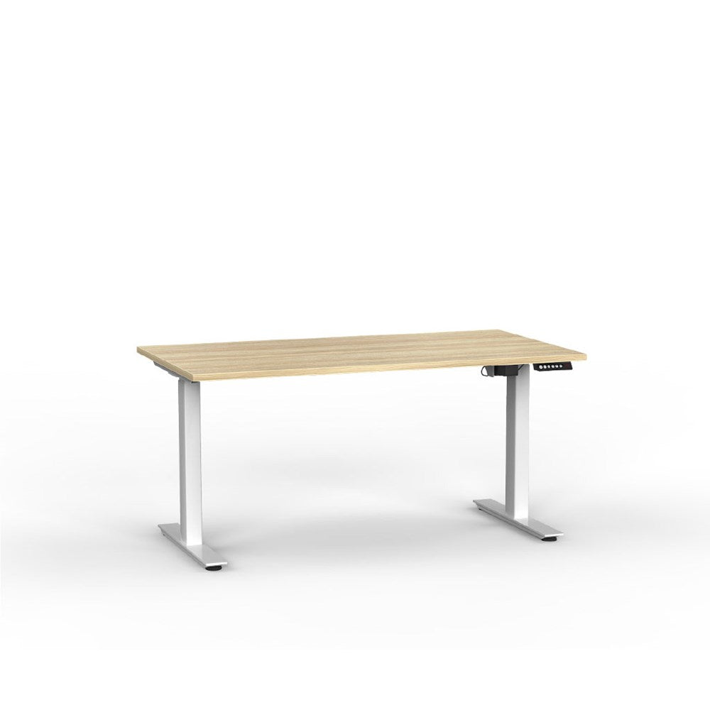 Agile Electric Height Adjustable Desk - White / Atlantic Oak