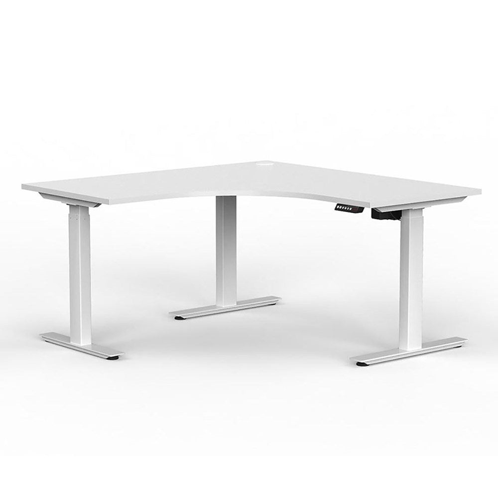 Agile Electric Height Adjustable Corner Desk - White / White