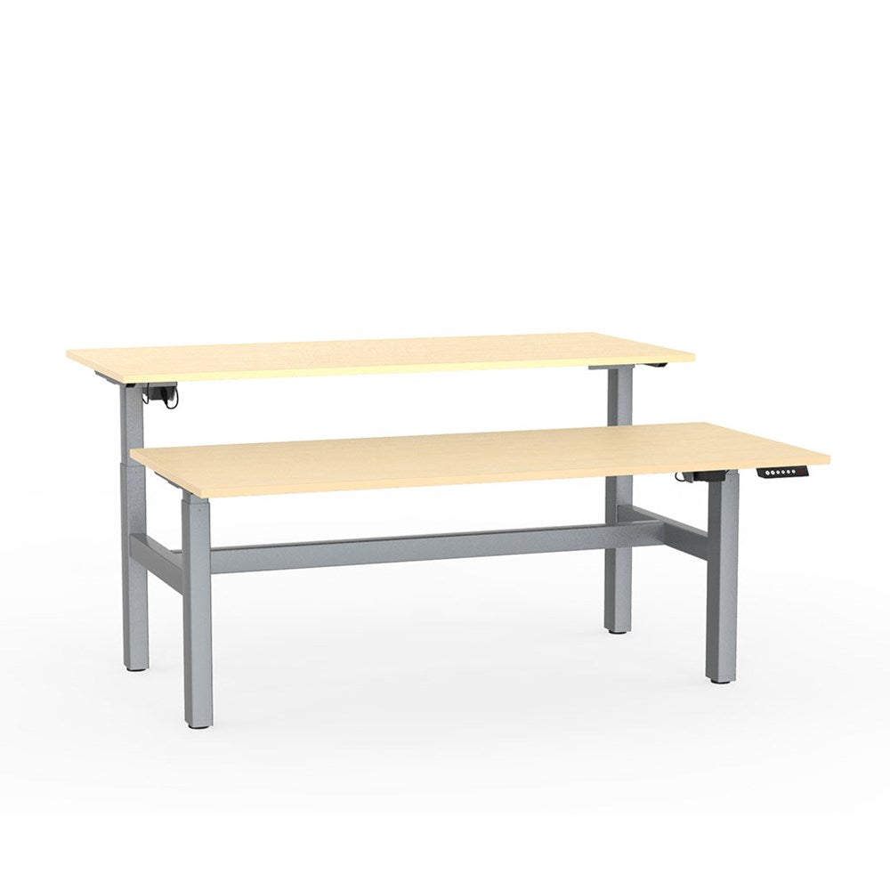 Agile Electric Height Adjustable Shared Desk - Silver / Nordic Maple