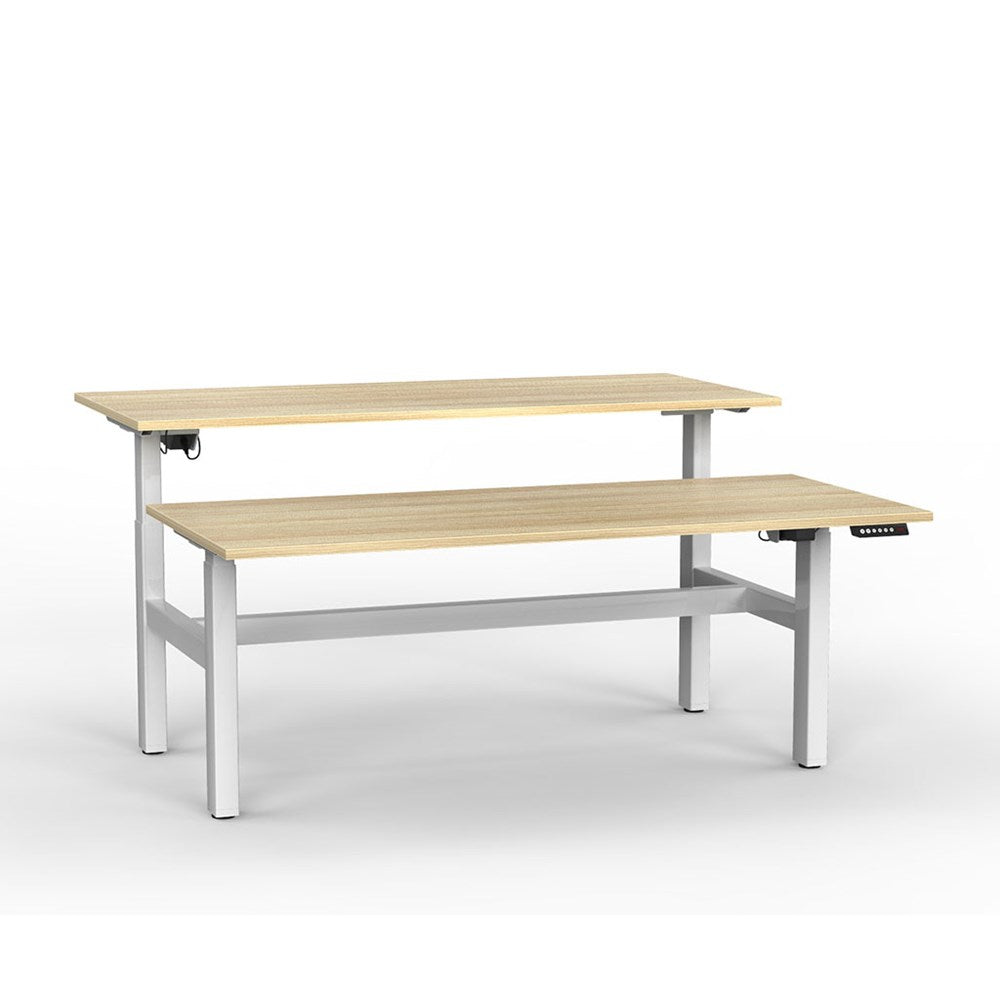 Agile Electric Height Adjustable Shared Desk - White / Atlantic Oak